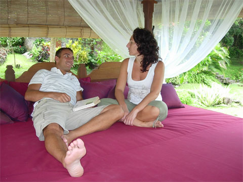 Relax on a Bali Bale at Nirarta
